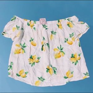 White & Yellow Lemon Printed Off The Shoulder Top